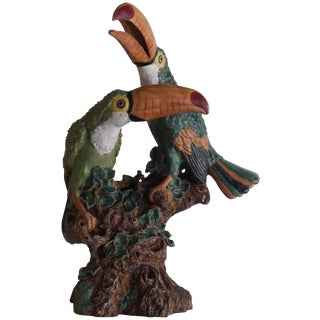 Hand Painted Ceramic Toucans Sculpture