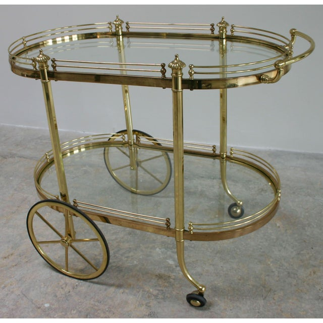 Vintage Regency Brass & Glass Server - Image 2 of 3