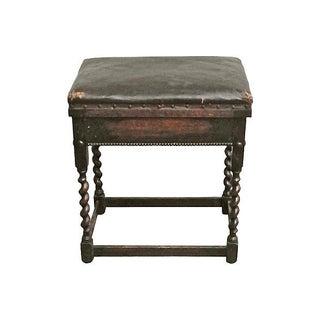 Antique Leather & Barley-Twist Leg Bench