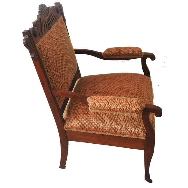 American Walnut & Upholstered Armchair - Image 10 of 10