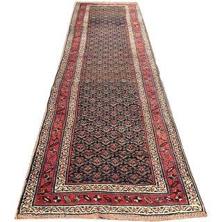 "Antique Persian Kurdish Hallway Runner Rug - 3'6"" X 14'6"""
