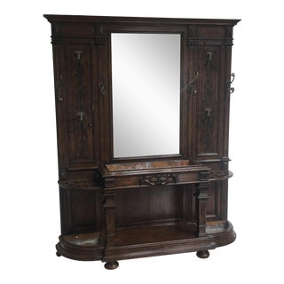 Antique Coat Hutch With Mirror
