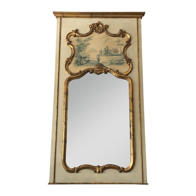 Hand painted italian rococo gilded mirror chairish for Gilded baroque mirror