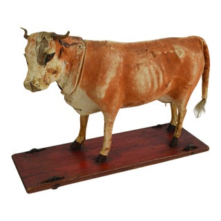 Vintage Leather Cow Pull Toy