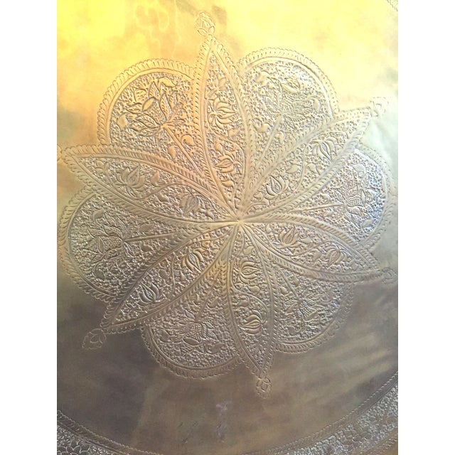 Mid-Century Hand-Hammered Brass Tray Coffee Table - Image 4 of 8