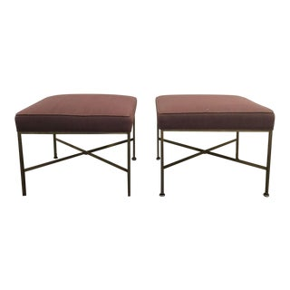Paul McCobb Purple Upholstered Brass Stools - A Pair