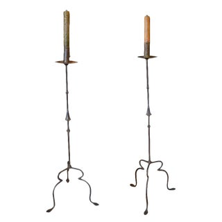 Pair of Italian Wrought Iron Candle Stick Lamps