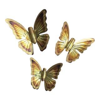 1970s Brass Butterfly Wall Decor - Set of 3