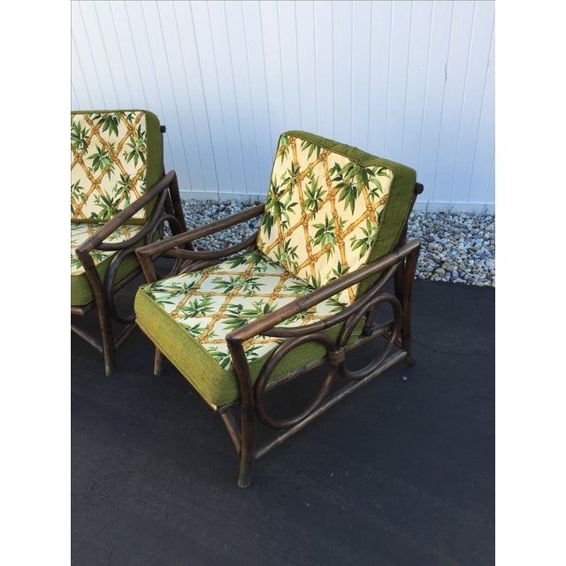 Mid century modern rattan sofa and chairs set of 3 for Modern rattan sofa