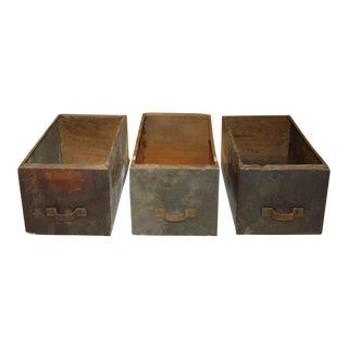 Antique Metal & Wood Parts Bin