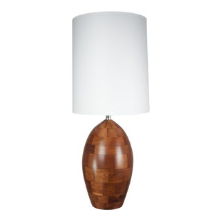 Staved Walnut Block Ovoid Lamp
