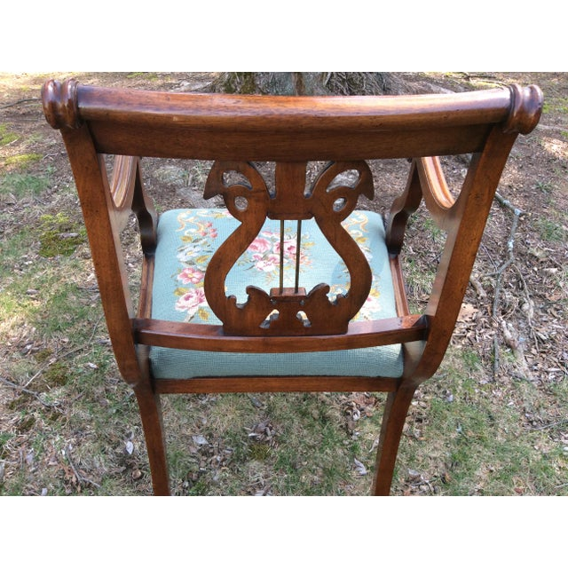 Regency Floral Needlepoint Harp Arm Chair - Image 7 of 7