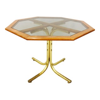 Vintage Mid-Century Modern Chrome Craft Brass & Wood Table