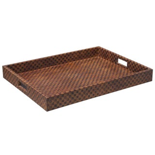 Sarreid LTD Checkered Leather Tray