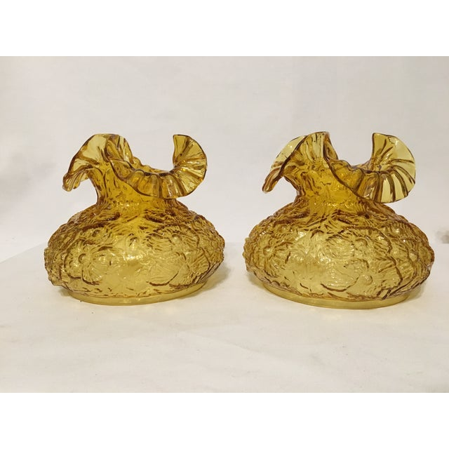 Fenton Amber Poppy Glass Lamp Shades- A Pair - Image 3 of 8
