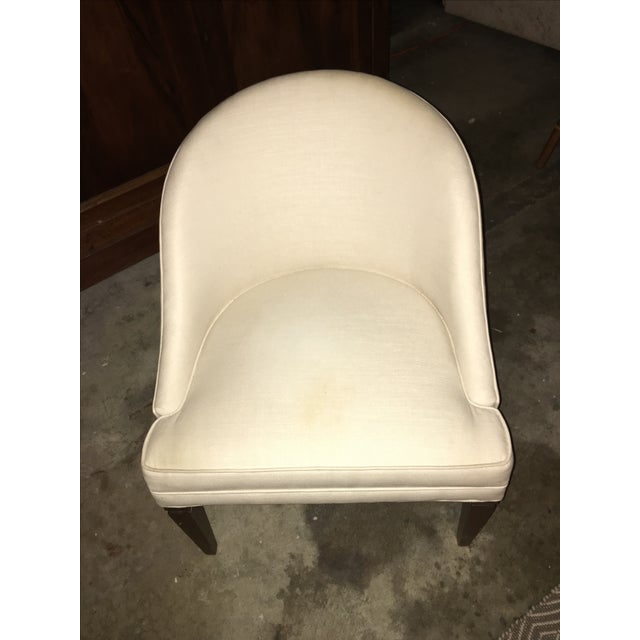 Image of Modern Off-White Linen Vanity Chair