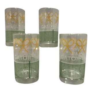 Vintage 1980's Green Yellow and White Alligator Tennis Cocktail Bar Tumbler Glasses - Set of 4