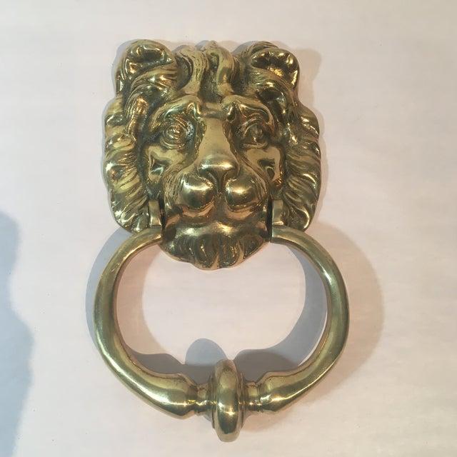 Brass lion 39 s head door knocker chairish - Lion head brass door knocker ...