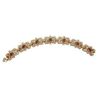 Hattie Carnegie Faux Topaz Cabochon Bracelet