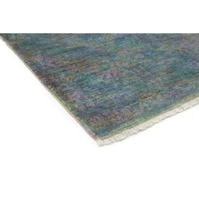 Vibrance, Hand Knotted Teal Wool Area Rug