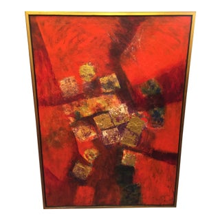 Circa 1980 Kenneth Forman Red & Gold Cubist Painting