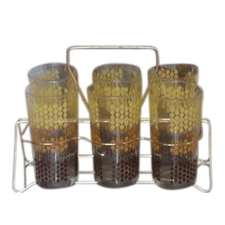 Mid-Century Glasses in Caddy - Set of 6 Sale