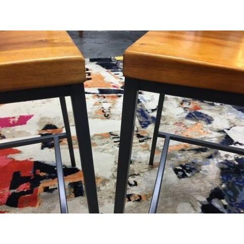 West Elm Rustic Counter Stools - A Pair - Image 8 of 11