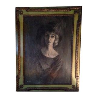 Oil Pastel of Mid-Century Woman in Vintage Frame