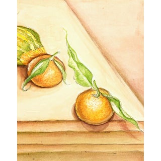 French Watercolor Painting Oranges Citrus