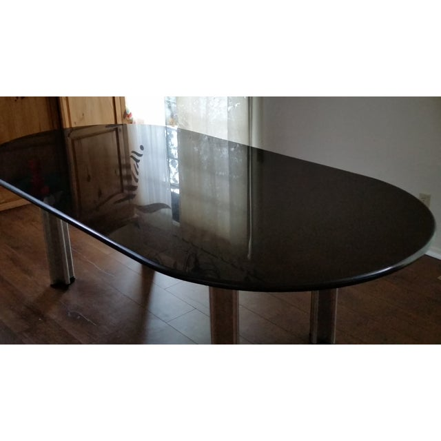 1980's Knoll Racetrack Black Marble Table - Image 6 of 7