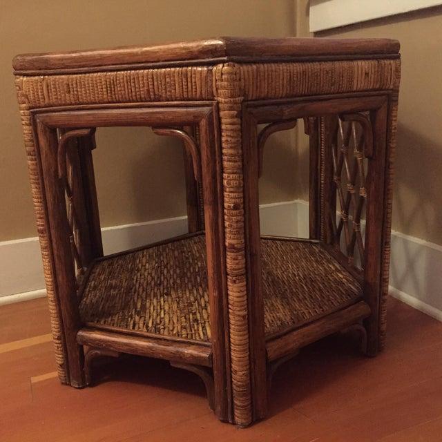 Boho Woven Rattan Side Table - Image 3 of 7