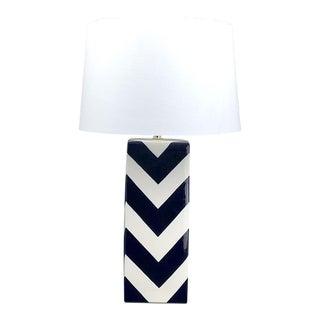 Navy Chevron Ceramic Table Lamp