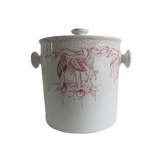 English Transferware Ceramic Canister