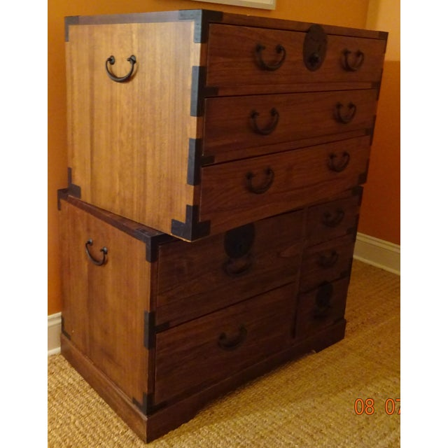 Japanese Style 3 Piece Stacking Tansu Clothing Chest - Image 9 of 11