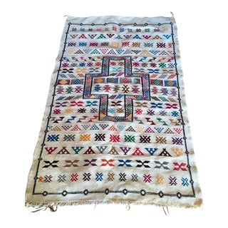 White Moroccan Patterned Rug - 3′5″ × 5′2″