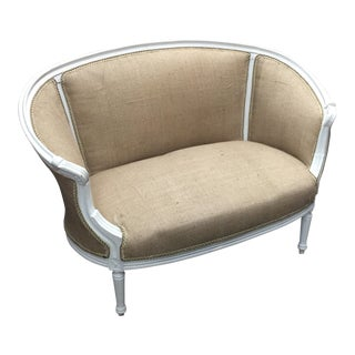 Rounded Neoclassical Petite White Sofa