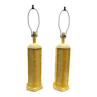 Yellow Bamboo Style Lamps - A Pair