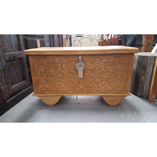 Carved Wooden Chest With Wheels - Image 2 of 7