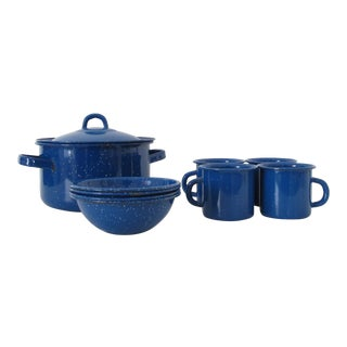 Blue Graniteware Enamel Camping Serveware - Set of 9