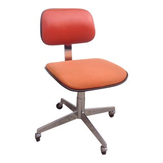Steelcase Orange Vinyl & Tweed Swivel Chair