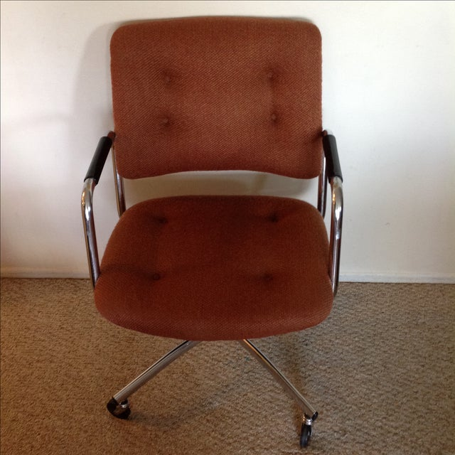 Vintage Orange Tweed Steelcase Office Chair - Image 3 of 9