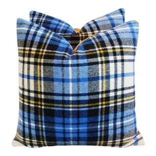 Blue Scottish Tartan Plaid Wool Pillows - A Pair