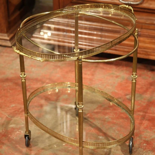French Oval Brass Bar Cart on Wheels - Image 7 of 8
