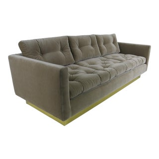 Tufted Sofa with Brass Base by Milo Baughman