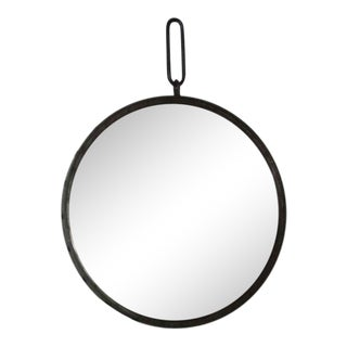 Industrial Round Steel Wall Mirror with Large Rivets, Contemporary