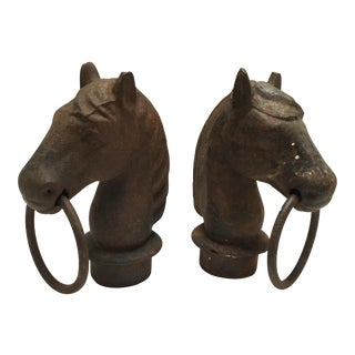 Antique Iron Horse Head Hitching Post Tops - Pair
