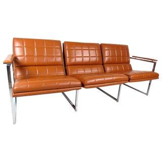 Mid-Century Milo Baughman Style Three-Seat Sofa
