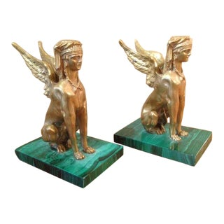 A Pair of Antique Egyptian Sphinx Sculptures