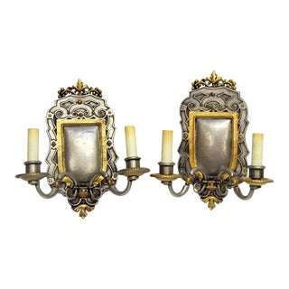 Gilt & Pewter Bronze Caldwell Sconces - a Pair