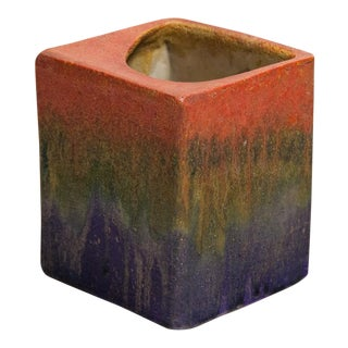 Fantoni for Raymor Tri-Color Glaze Ceramic Pillow Vase